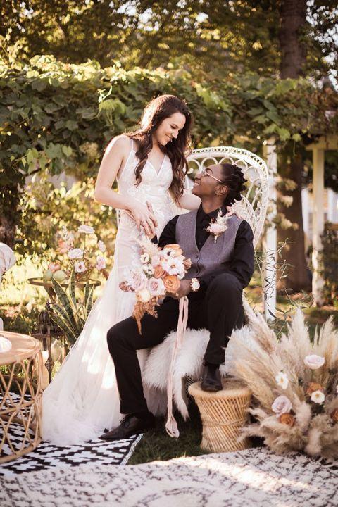 LGBTQ Cozy Micro Wedding with Laid Back Boho Style