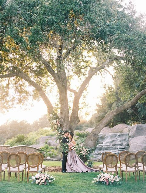 Romantic Floral Wedding Tree Ceremony with French Country Elegance