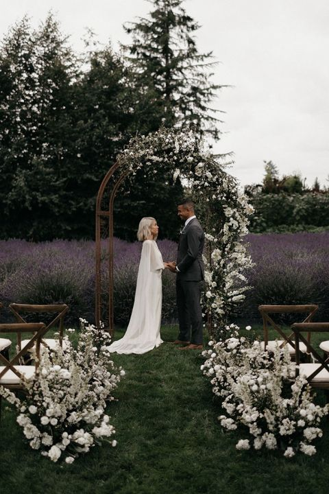 Airy White Flowers with Moody Personal Style for a Lavender Farm Elopement Shoot