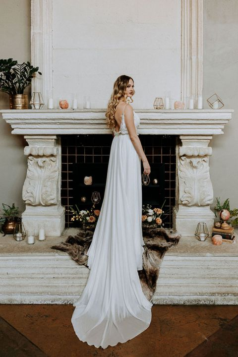 Indoor Fireplace Ceremony Decor with Candles