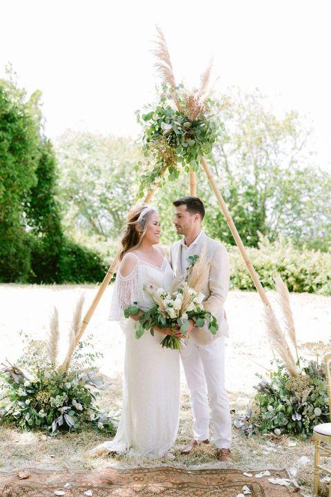Teepee Bohemian Wedding Ceremony with Greenery