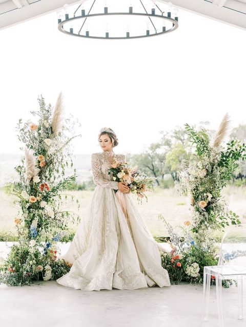 Pastel Styling Ideas for a Glam Princess Wedding Dress and a Floral Ceremony Arch