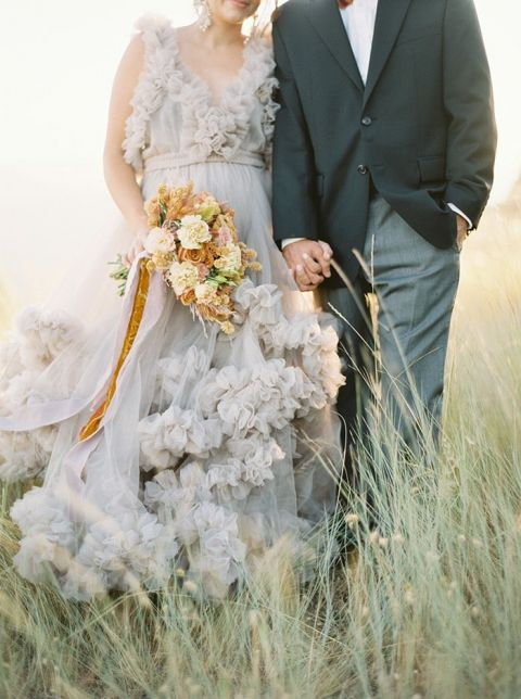 Sunset Elopement Photo Session with a Ruffled Gray Dress