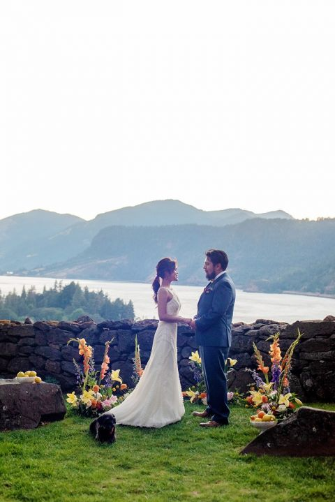 Views of the Columbia River Gorge from The Griffin House make this Wedding Ceremony the Oregon Dream Venue for Weddings
