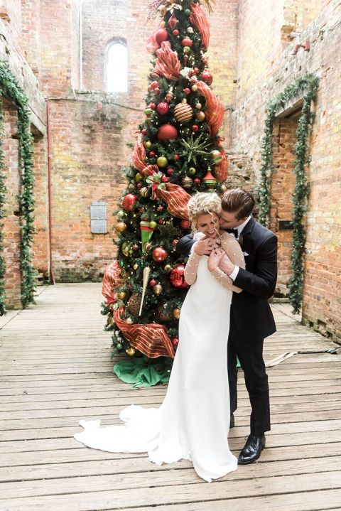 Traditional Christmas Tree Decorations for a Georgia Holiday Wedding in Manor House Ruins at Barnsley Resort