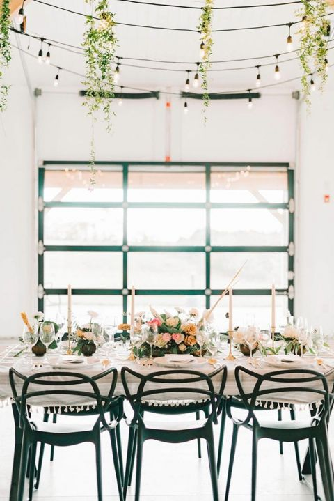 Industrial Accents for a White Farmhouse Reception with Hometown Wedding Style
