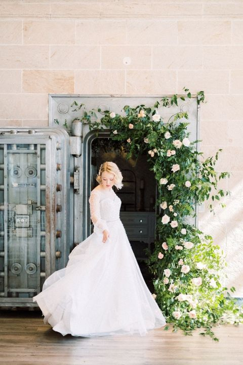 The Perfect Wedding Dress for a Vintage Love Story with Pearls and Sheer Sleeves