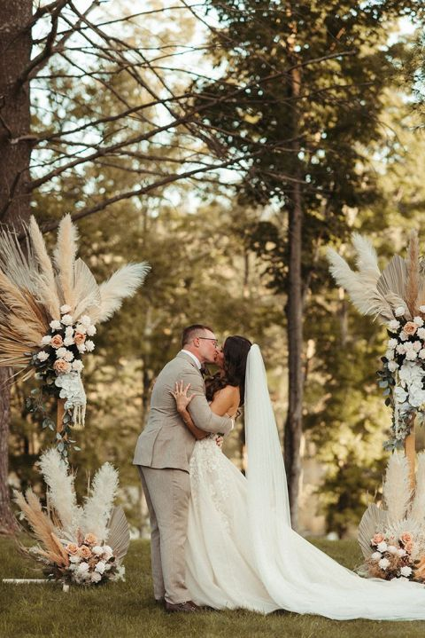 Boho Micro Wedding on a Private Estate with Dried Flower Arrangements the Bride Made Ahead of Time