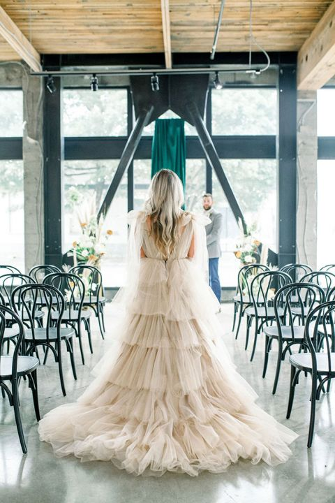 Unique Wedding Dress Style for a PNW Bride in an Industrial Venue