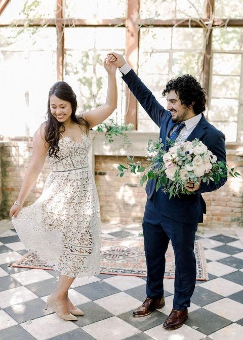 Cute Lace Elopement Dress picked out for a Courthouse Wedding