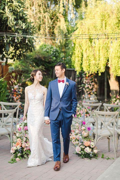 Fairy Tale Wedding Flowers for a Backyard Ceremony with a Koi Pond Theme