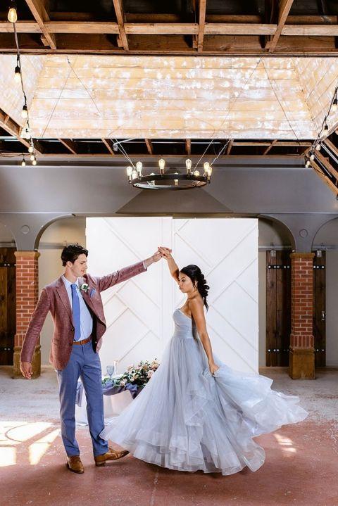 Monet's Garden Inspired Wedding Dress in Lovely Lavender and Blush