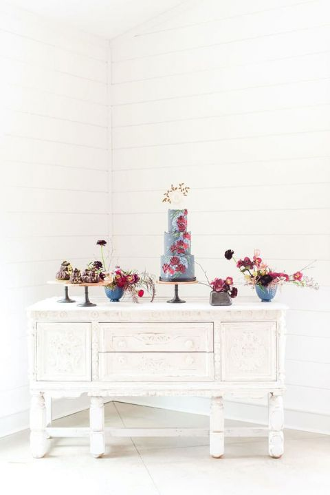 Vintage Whitewashed Sideboard for a Dramatic Cake Display
