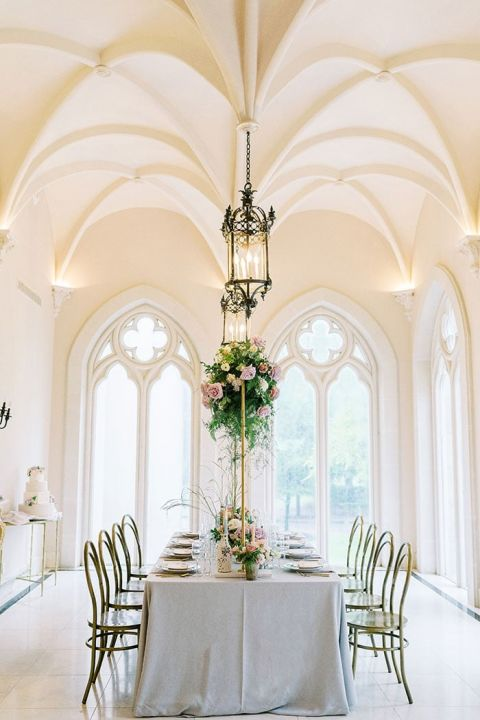 French Chateau Wedding Reception in Houston with Indoor Garden Centerpieces