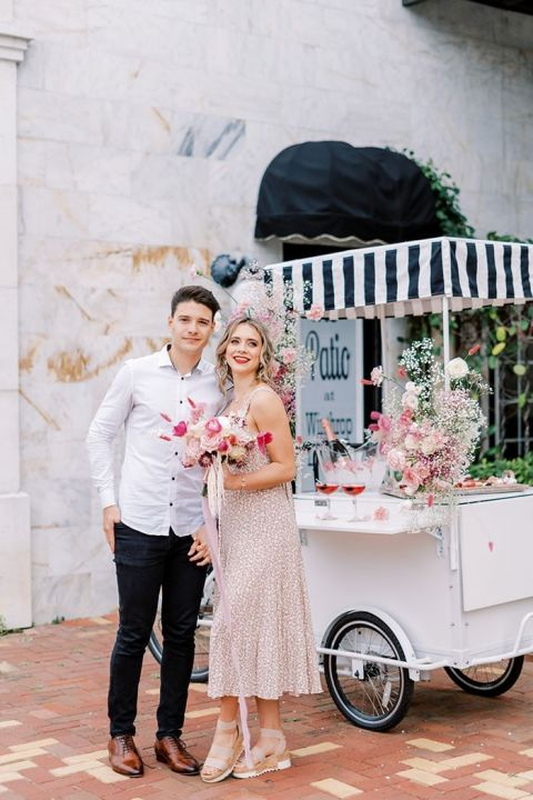 Vintage Paris Bar Cart Serving Rose Cocktails and a Dessert Charcuterie for a Valentine's Day Proposal