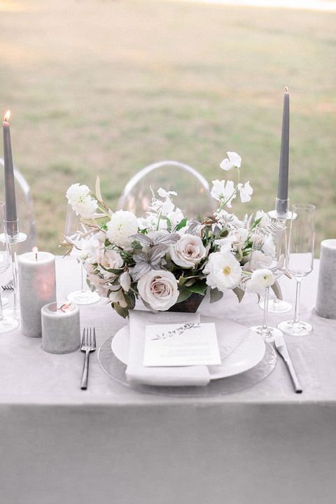 Romantic Ultimate Gray Wedding Style Inspiration with Neutral Centerpieces and Table Decor