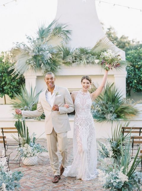 Desert-inspired Ceremony with Succulent Wedding Decor