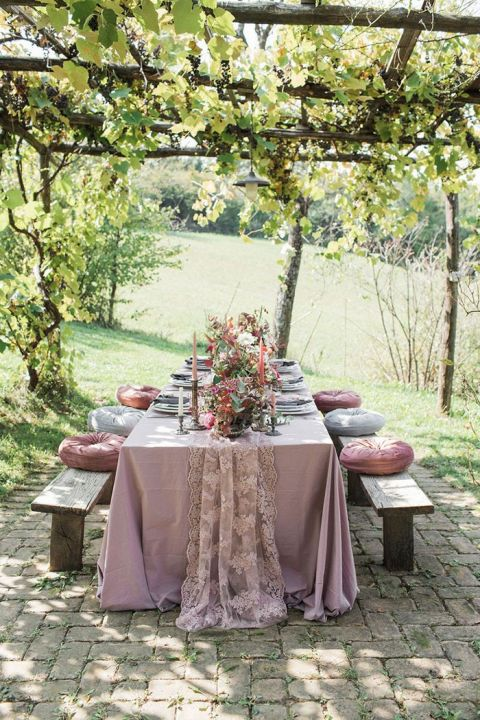 Intimate Bohemian Dinner Under the Grape Arbor after a Handfasting Ceremony