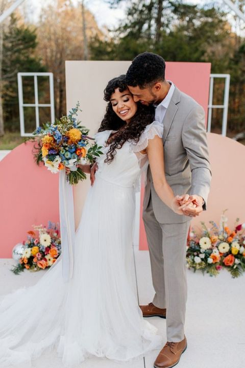 Colorful Disco Wedding Day Details with Mirrorball Vibes