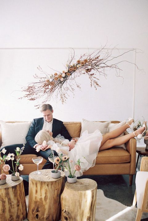 Ikebana Inspired Centerpieces with Montana Chic Rustic Lounge Furniture for a Blushing Spring Wedding