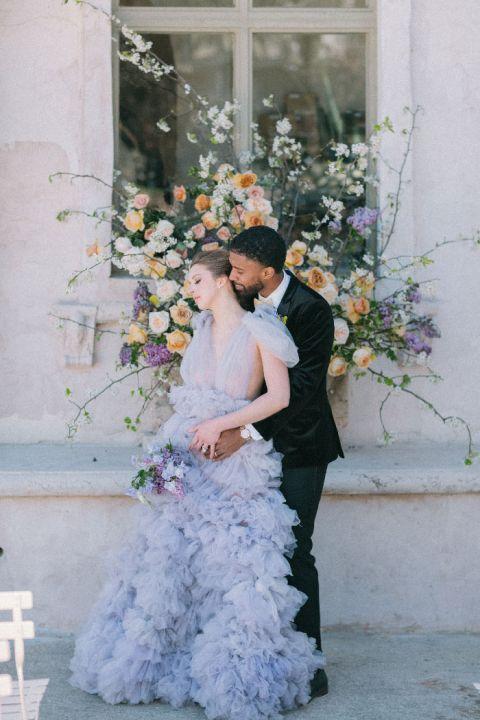 Bridgerton Wedding Inspiration with a Purple Wedding Dress