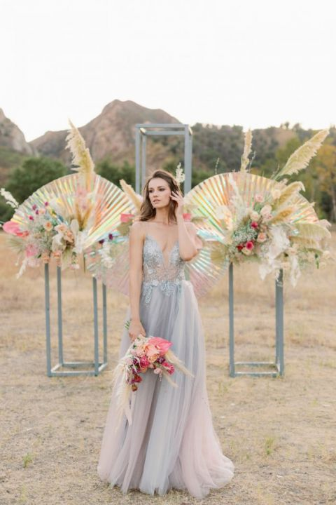 Radiant Angel Wing Photo Backdrop with Iridescent Rainbow Colors