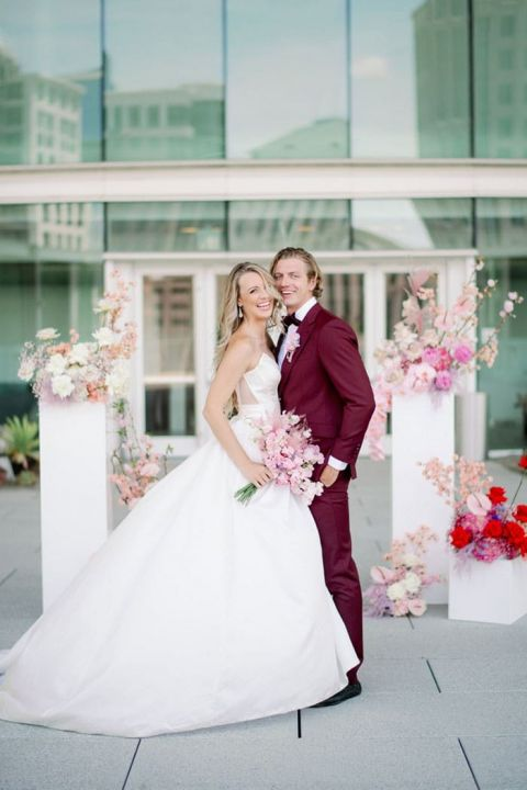 Blush and Burgundy Colors for a Luxe Rooftop Wedding in the City