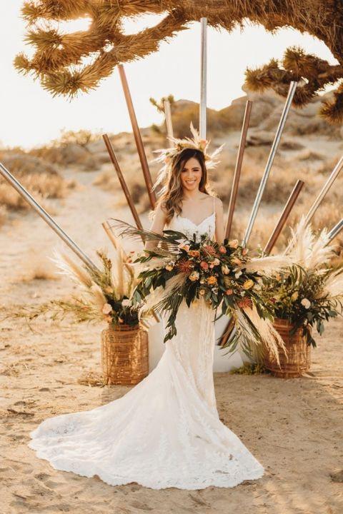 Rustic  Wedding Ceremony for a Desert Boho Bride