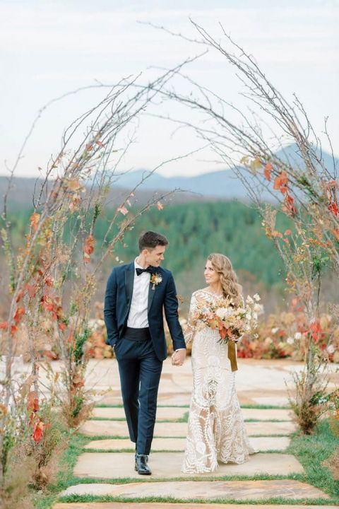 Stunning views of the Blue Ridge Parkway for a Bohemian Mountain Wedding Day