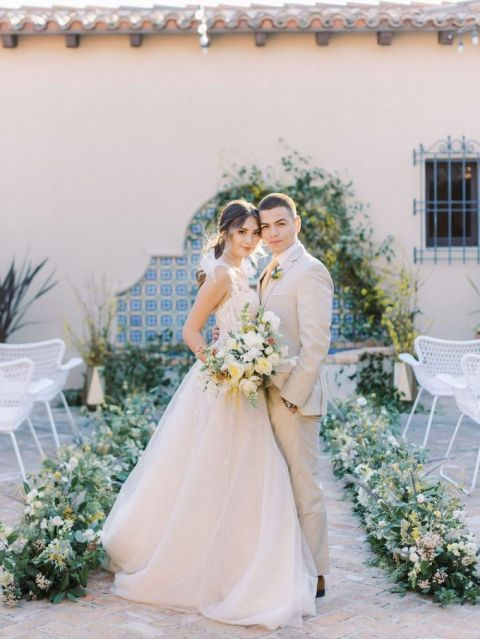 Blue and Yellow Mediterranean Wedding Inspired by Spanish Tile